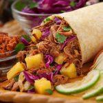 grilled pineapple pork burrito, mango catfish taco, taco